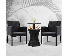 Furniture Wicker Chairs Bar Table Cooler Ice Bistro Set Bucket Patio Coffee Out door