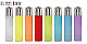 Clipper super lighter gas refillable collectableset of 8 translucent colours