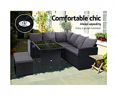 Furniture Dining Setting Sofa Set Lounge Wicker 8 Seater Black out door