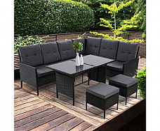 Sofa Set Patio Furniture Lounge Setting Dining Chair Table Wicker Black out door
