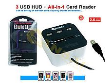 Sansai 3xUSB HUB + All-in-1 Card Reader, High Speed and 3 Ports USB2.0 HUB