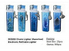 10 x Lighters electronic gas refillable aquarium pewter charm with windproof sha