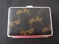 Cigarette case Tiger leather bound car pattern holds 14 comes boxed