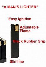 Slimline gas refillable lighter adjustable flame rubber grip x 2