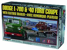 LINDBERG MODEL KIT 73068 DODGE L700 & 1940 FORD COUPE W/ TRAILER, FACTOR SE