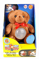 Bright light buddy soft cuddly night light plush toy 6 bright white leds