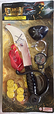 Pirate play set Sword, Eye Patch, 8 Coins, Earing, Coin Bag, Compass ages 3 and