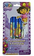 Nickelodeon 5pk Blue Ink Ballpoint Dora the Explorer Pen Set  Dora Pens Pack