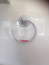 1 NEW NALEON Towel ring WHITE USE ON GLASS, TILES, CERAMICS, PLASTICS.