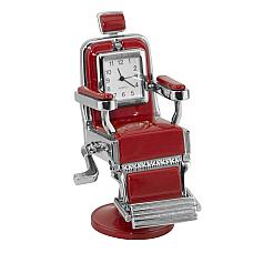 Miniature Red Barber Chair Novelty Quartz Movement Desktop Collectors Clock TM8