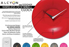 Alcyon Numberic Wall Clock  - Wireless Remote Doorbell Door Bell Ring 30 ring to