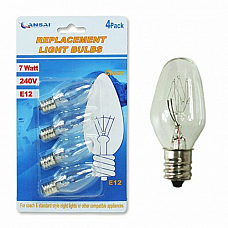 SANSAI Night Light Replacement Bulbs Small Screw E12 7W 240V GL-AE1207  2PKS