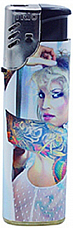 Jet flame windproof  tattoo girl  gas refillable large lighter