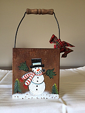 snowman hand painted tin with handle high quality Christmas item