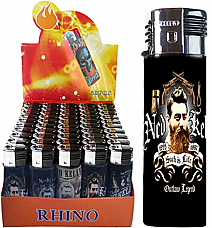 Rhino  Y106 Ned Kelly  gas refillable large lighters lot of five assorted wind