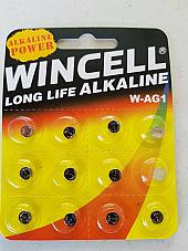 Batteries 12 x W-AG1  SR621SW/SR60/364/LR621  Alkaline Long Life Wincell