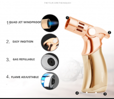 Jobon 4 Flame Jet Torch Lighter Windproof Refillable powerful Blow torch