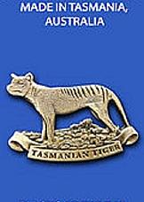 Tasmanian Tiger 3 D Brass lapel brooch pin