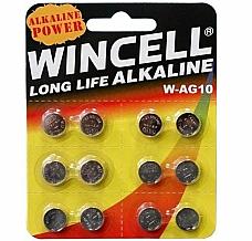 Batteries 12 x W-AG10  W-SR1130/SR54/389/LR1130  Alkaline Long Life Wincell