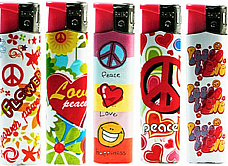 Rhino  Y140 large lighters lot of five assorted normal flame Hippy, peace, Love
