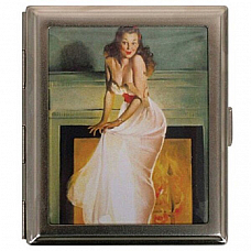 Aztec cigarette case pin up girl holds twenty cigarettes , Great collectible