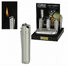 Clipper Pipe Lighter Angled Flame Metal gift Case Gas Refillable 2 year warranty