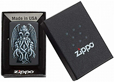 Zippo Black Matte Winged Monster design
