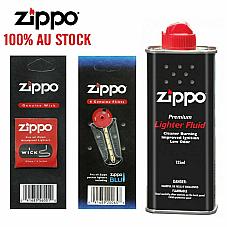 Zippo Cigarette Genuine Lighter Premium FLUID Petrol Refill 125ml+ Wick + Flints