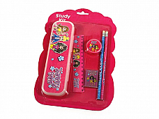 childrens Stationery set, pencil case, stamp, rubber, ruler and two pencils x2