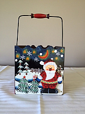 Santa hand painted tin with handle high quality Christmas item