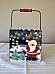 Santa hand painted tin with handle high quality Christmas item