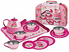 ROSE TIN 15 pce TEA SET IN SUITCASE CH10715C