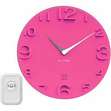 Alcyon Numberic Wall Clock  - Wireless Remote Doorbell Door Bell Pink