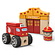 Top Bright Children's Wooden 19pc Building Block Toy -Red Fire Station & Truck