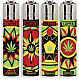 Clipper  4 x Jamacian Leaf, Refillable Lighters (EB66)