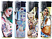 Jet flame windproof  tattoo girl  gas refillable large lighters lot of four