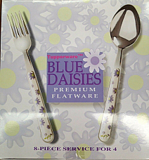 Tupperware Blue Daisies premium flatware 8 piece service for four